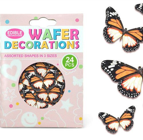 912 Precut Mariposas 3 size 24 pcs Edible Wafer Paper Butterflies