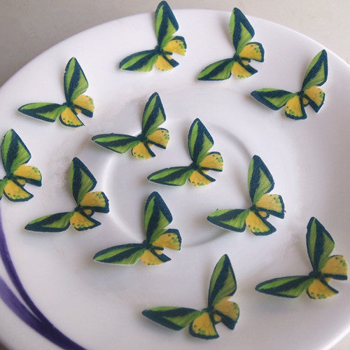 Edible Wafer Butterflies--vivid 16 precut wafer shapes