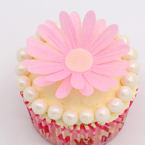 3D Edible Wafer White & Pink Double Daisy Mixed in One Box