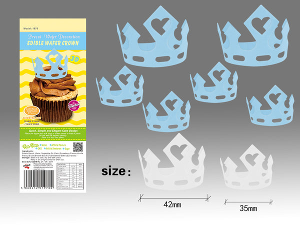 3D DIY Edible Wafer Paper Gluten GMO Dairy Sugar Nut Free Blue Crown