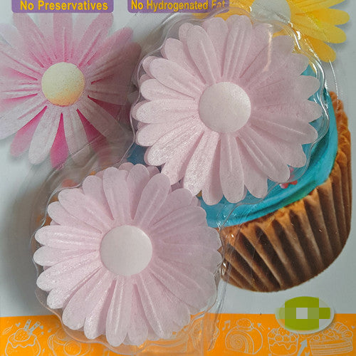 Super Sale Bulk Pack 3D Edible Wafer Paper Light Pink Double Daisy No Sugar Added