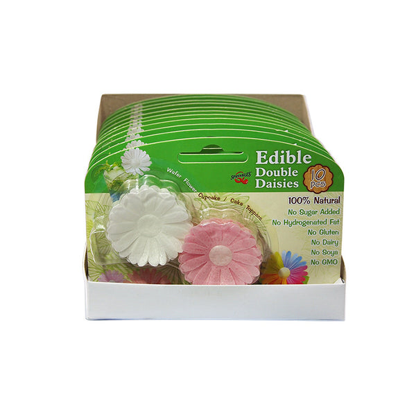 3D Edible Wafer White & Pink Double Daisy Gluten GMO Dairy Sugar Nut Soy Free