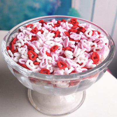 Red/White/Pink Mix Confetti Angel Hearts for cake decorating fit Vegan
