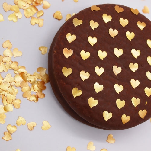 Gold Glitter Hearts Nut Free Edible Decoration