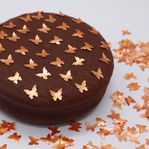 Orange Glitter Butterflies Sugar Free Edible Decoration