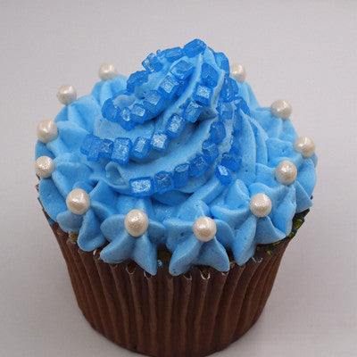 Pearlized blue Sugar Rocs Edible Cake decorations Cake toppers