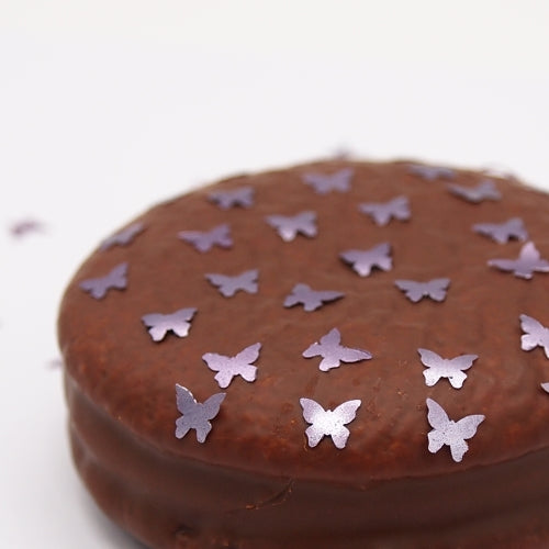 Purple Glitter Butterflies Nut Free Edible Decoration