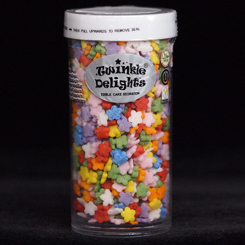 459 Rainbow Confetti Daisies EDIBLE SHAPES sprinkles 100% Natural