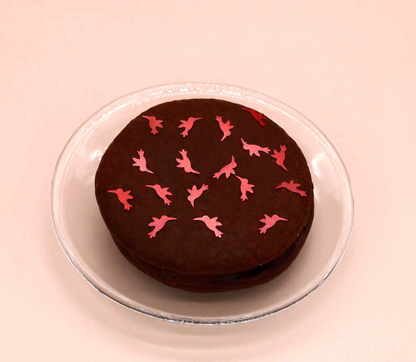 Red Glitter Hummingbirds Dairy Free Edible Decoration