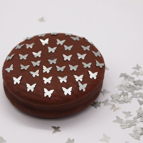 Silver Glitter Butterflies Gluten Free Edible Decoration