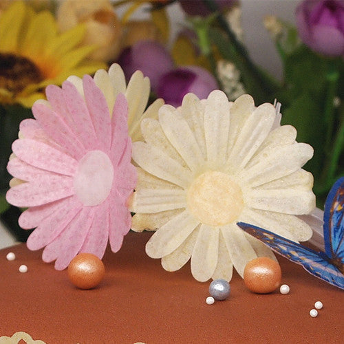 3D Edible Wafer Paper Gluten GMO Dairy Sugar Nut Soy Free Pink Double Daisy