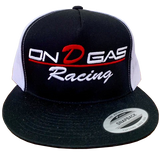 2 Tone Black & white On D Gas Racing trucker hat