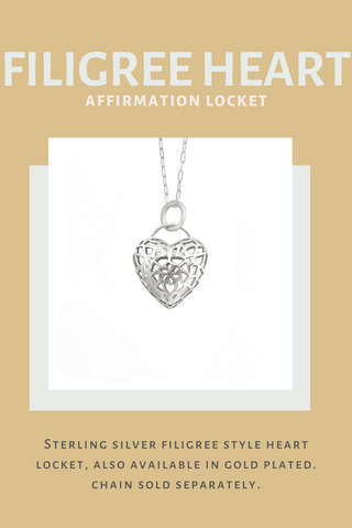 Image of sterling silver filigree style heart shaped locket on sterling silver chain