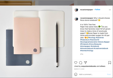 Image of screengrab from Instagram, image of 3 notebooks, one is open and a pencil