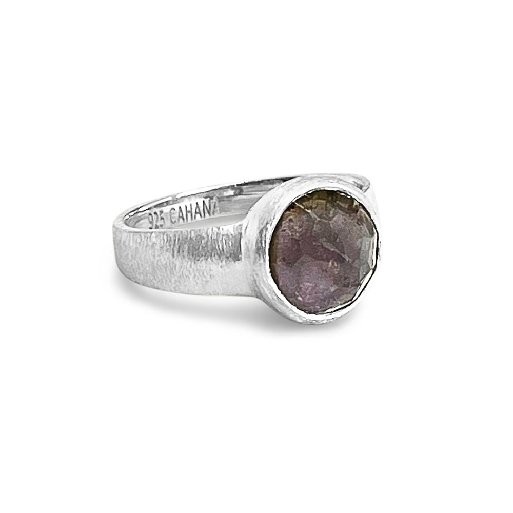 2.87 CARAT EGGPLANT TOURMALINE SILVER RING SIZE 54