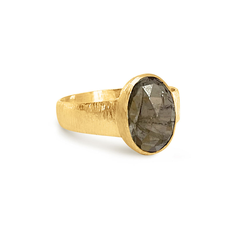 3.42 CARAT GREY TOURMALINE GOLD RING SIZE 56