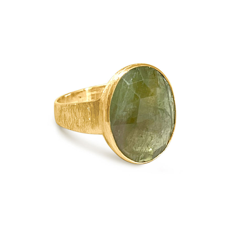 5.32 CARAT OLIVE TOURMALINE GOLD RING SIZE 52