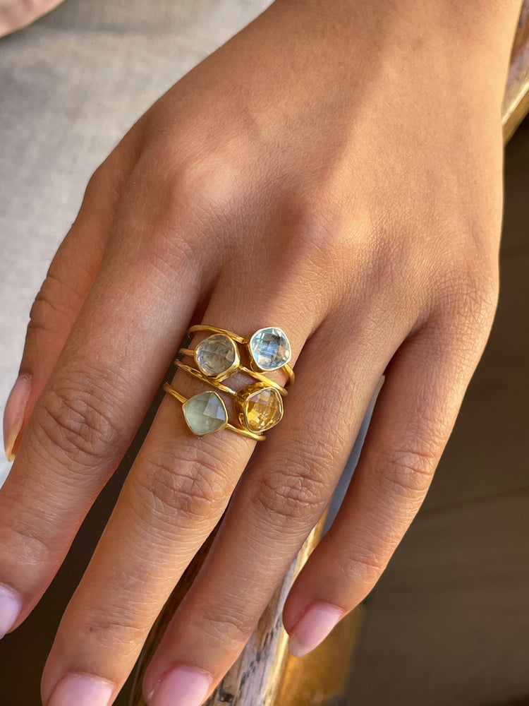6 MM PREHNITE GOLD-PLATED RING