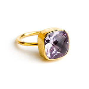 gold plated sterling silver ring with 12 mm amethyst stone