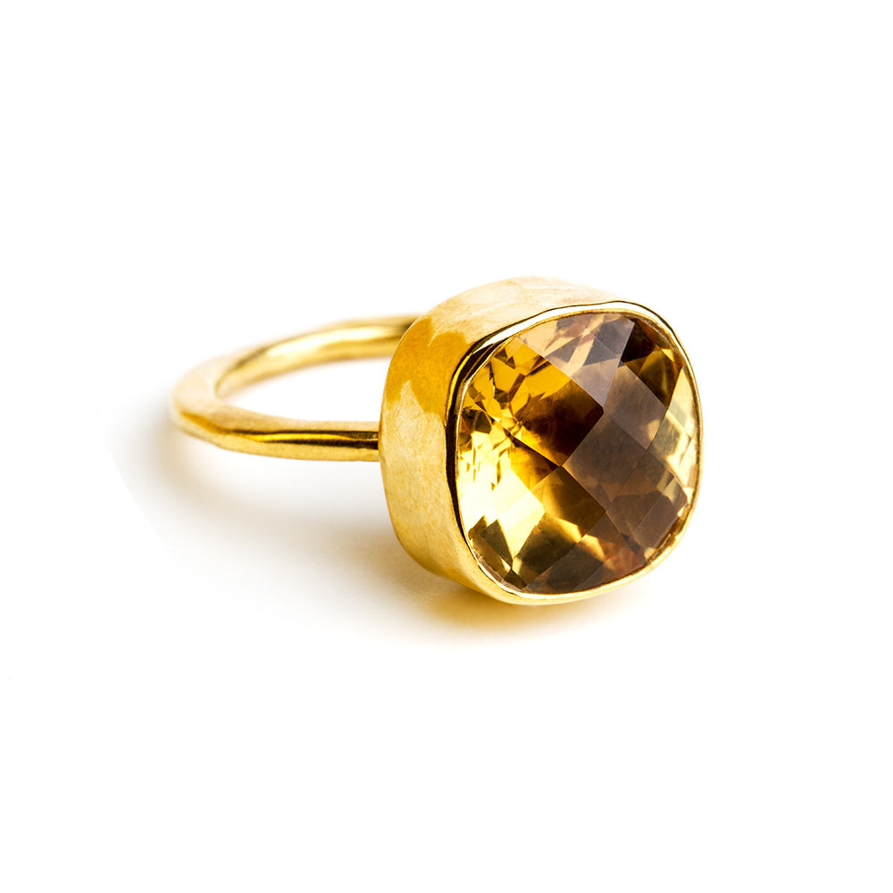 gold plated sterling silver ring with 12 mm citrin stone