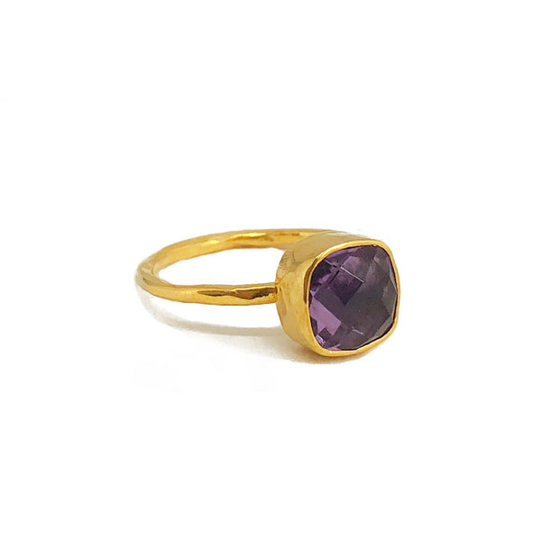 gold plated sterling silver ring with 8 mm amethyst