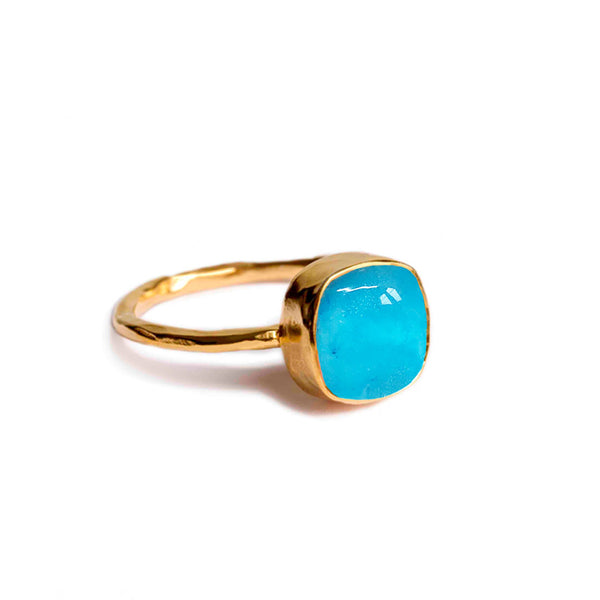 aqua chalcedony and clear crystal doublet ring