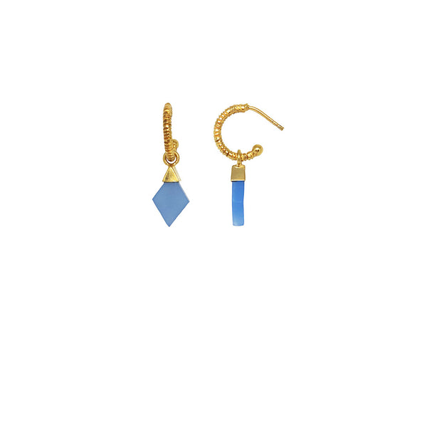 Gold plated creole earring with blue chalcedony stones