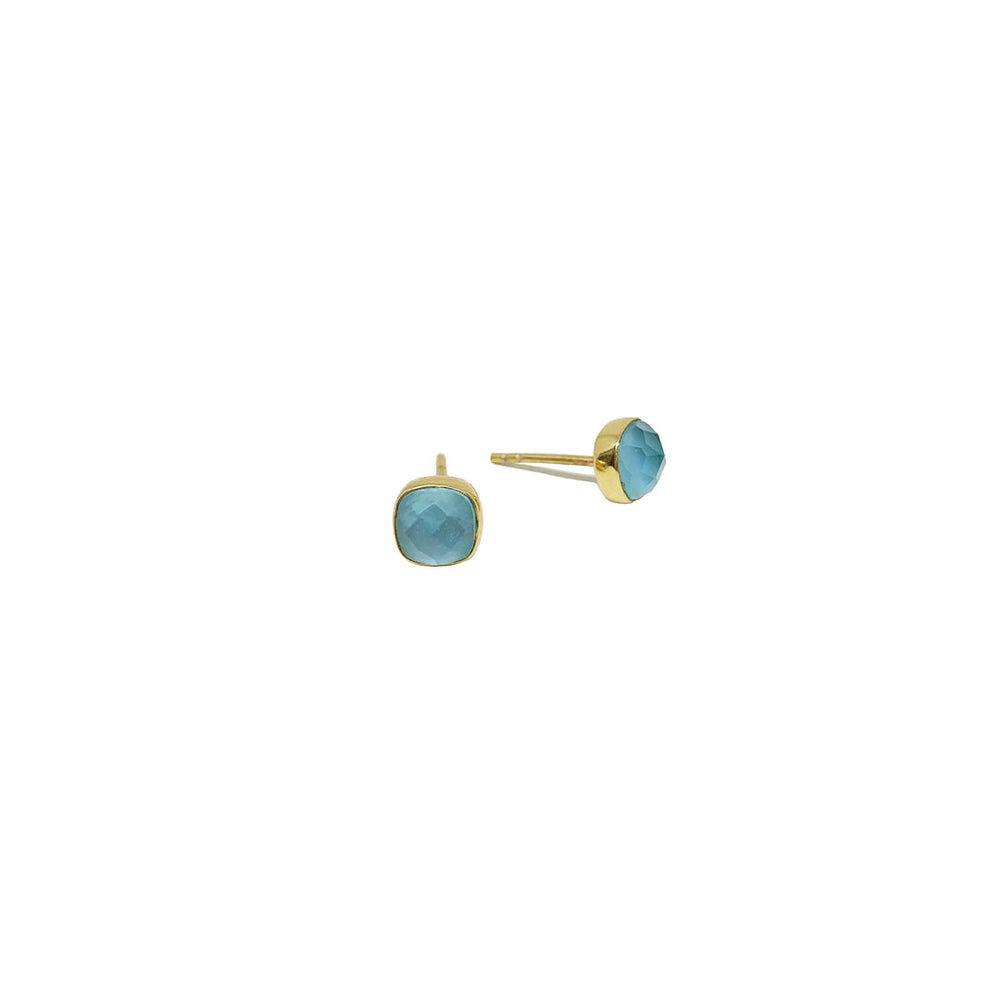 CARRÉ BLUE TOPAZ GOLD-PLATED EARSTUDS