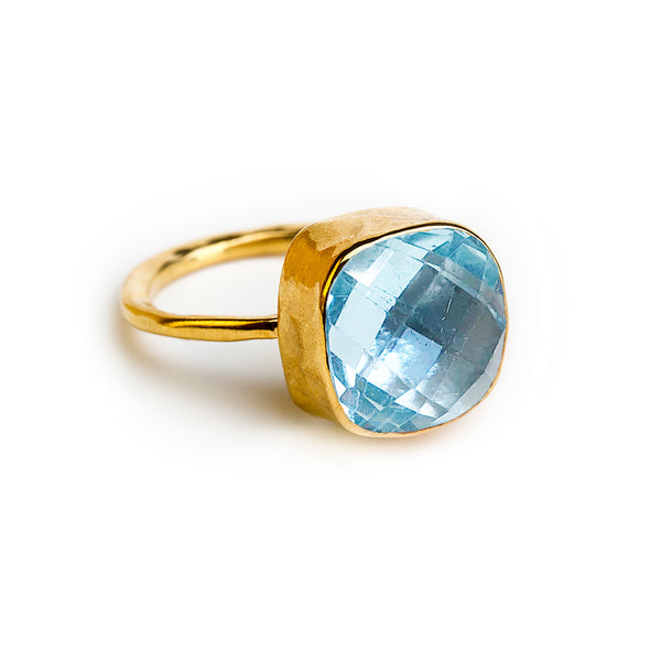 12 mm cushion cut blue topaz ring with gold plating