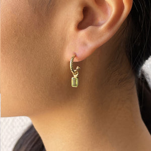 PERIDOT OCTAGON GOLD-PLATED EARRINGS