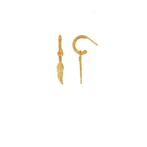 gold plated sterling silver creole earring with feather token