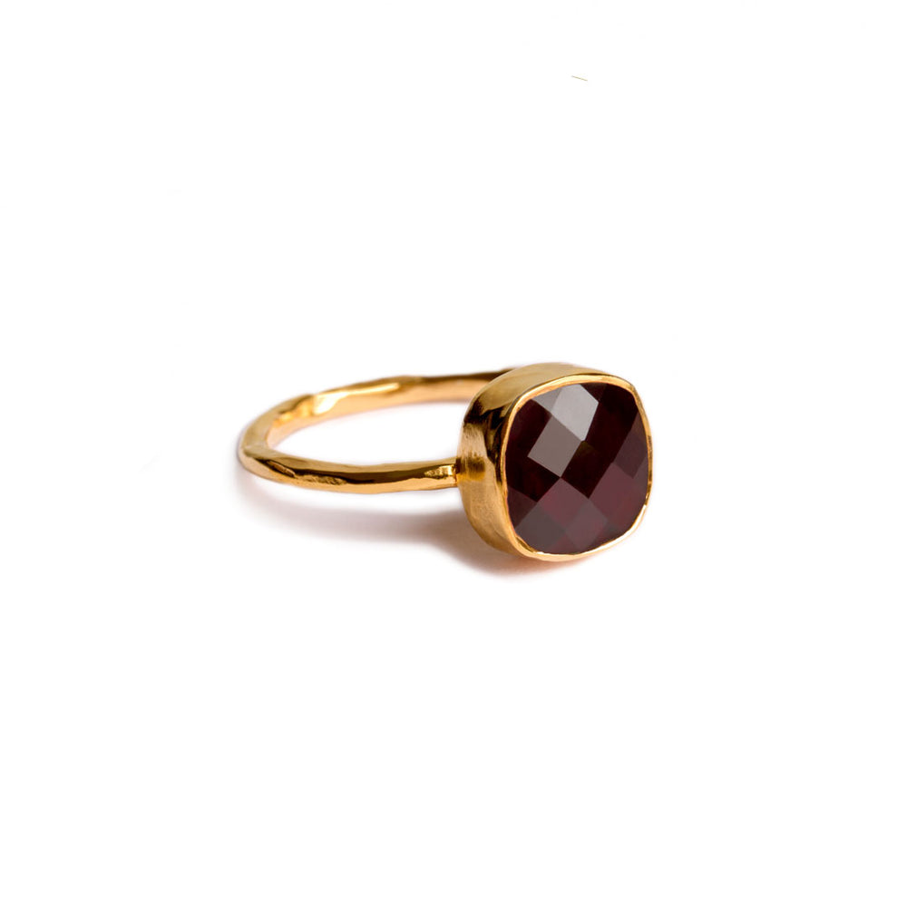 gold plated sterling silver ring with 8 mm garnet stone