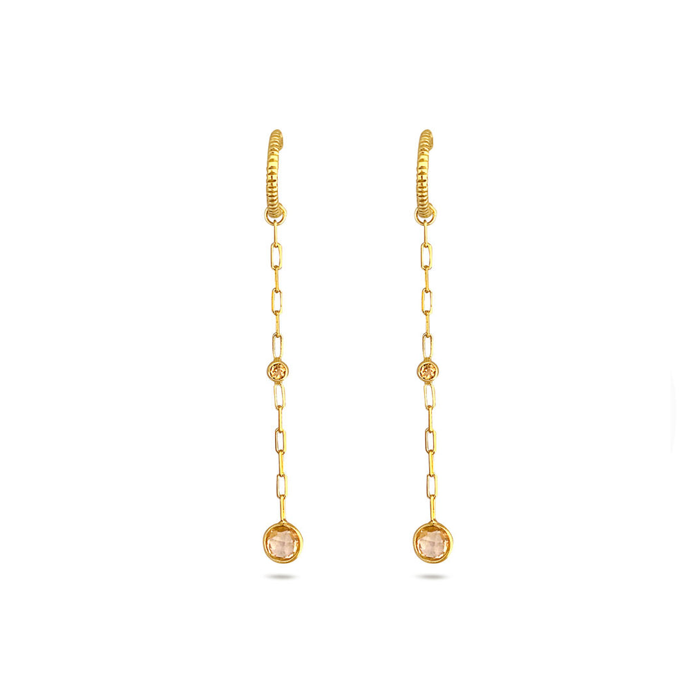 CITRIN CHAIN GOLD-PLATED EARRINGS