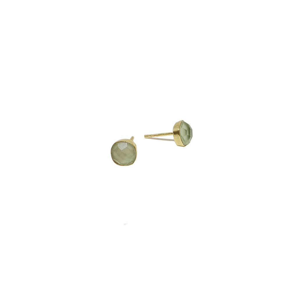 CARRÉ GREEN AMETHYST GOLD-PLATED EARSTUDS