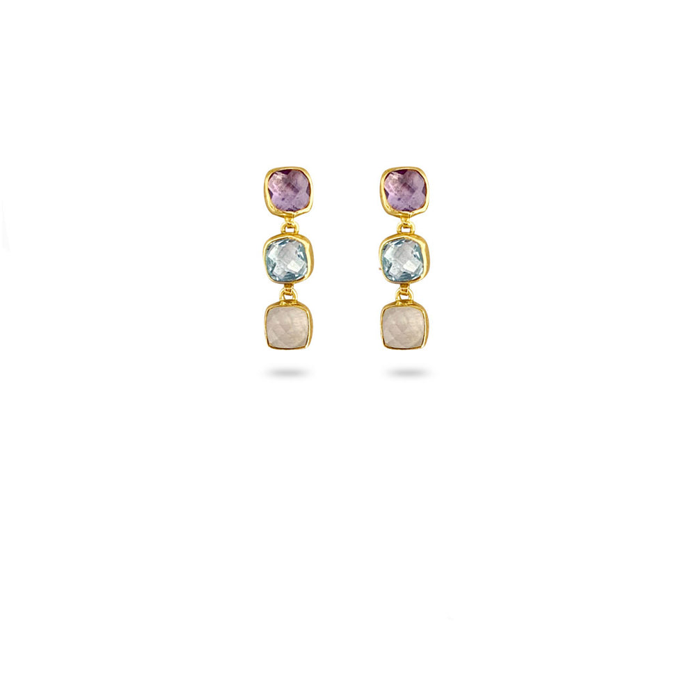 3 STONE PURPLE GOLD-PLATED EARRINGS