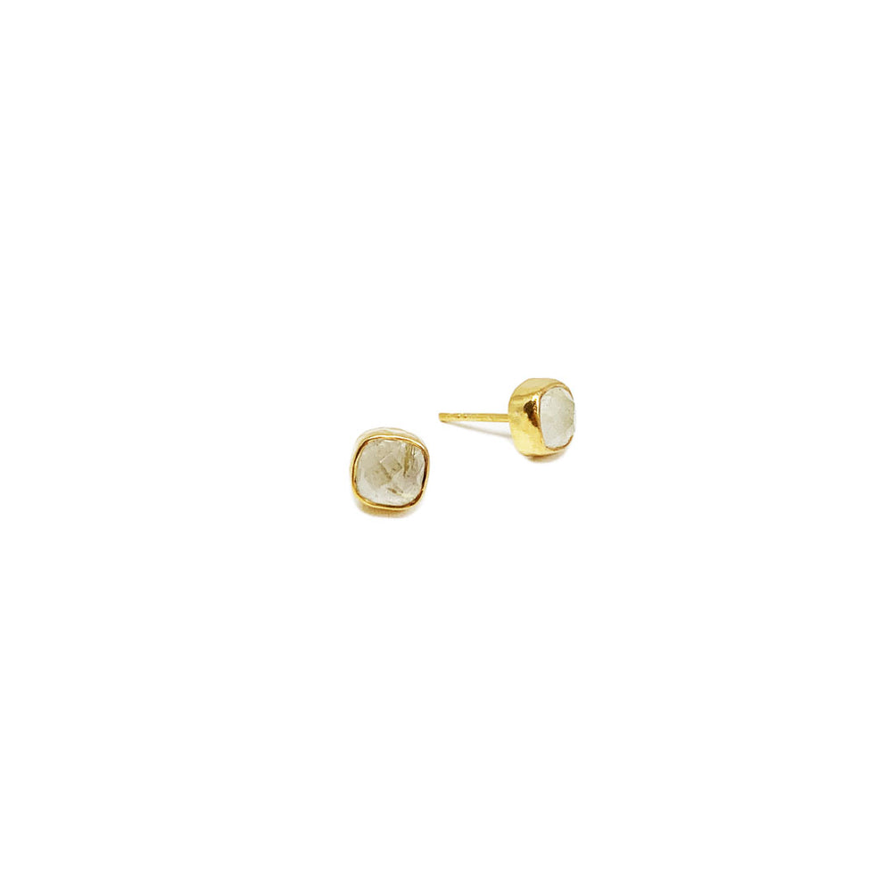 RUTILE QUARTZ GOLD-PLATED EARSTUDS