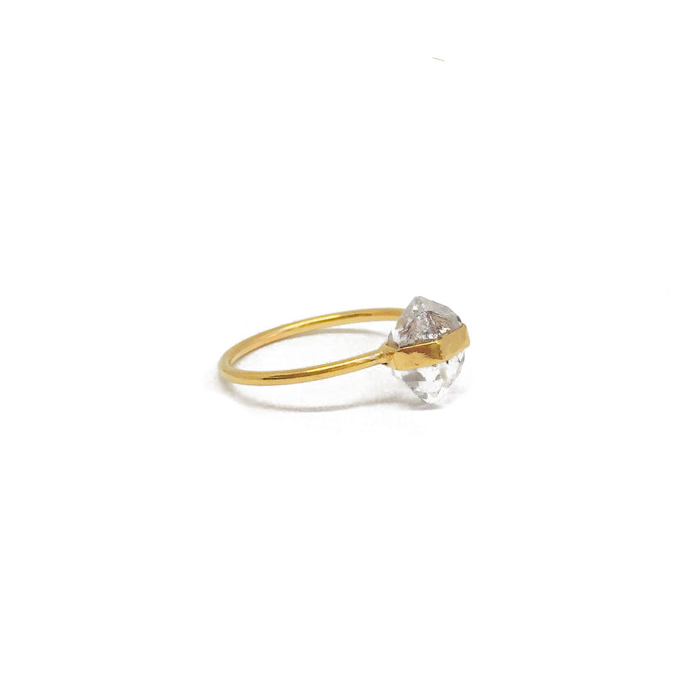 gold plated sterling silver ring with a raw herkimer stone