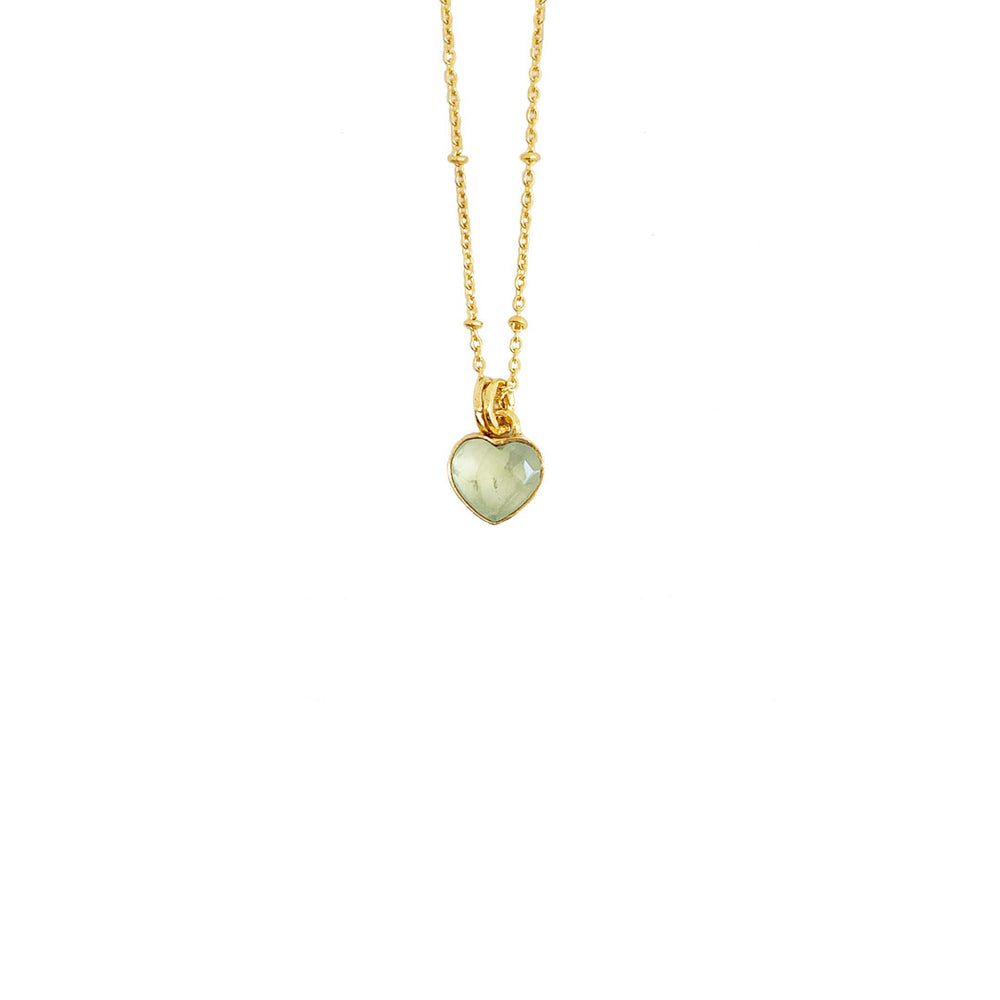 PREHNITE HEART GOLD-PLATED PENDANT