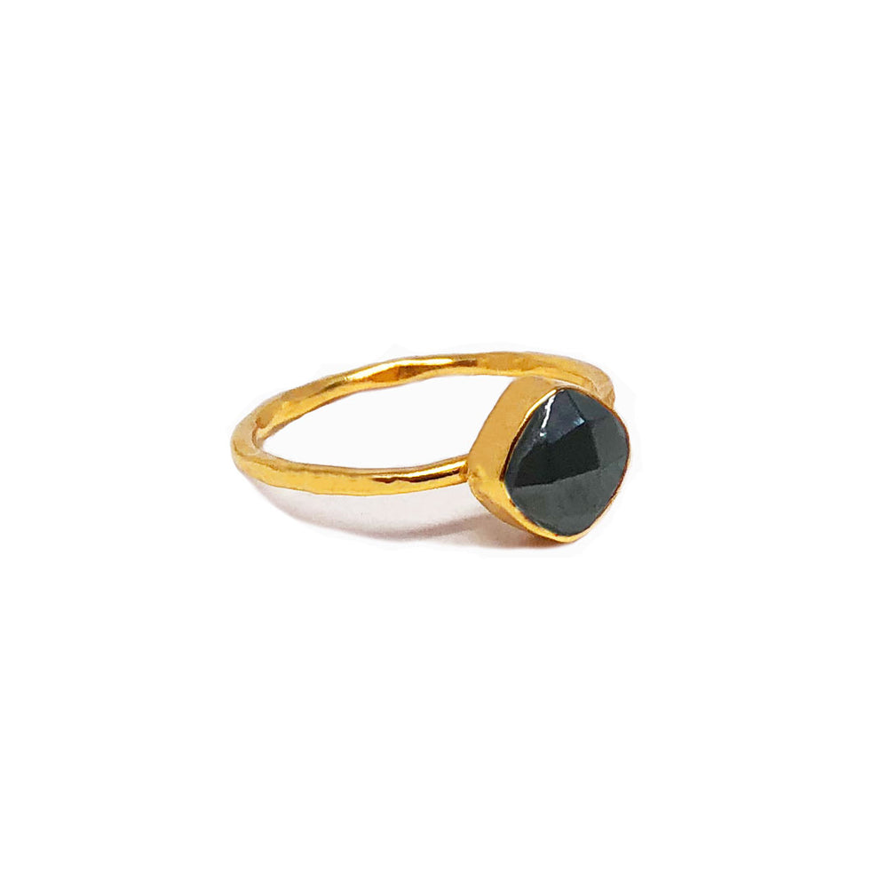 gold plated sterling silver ring with 6 mm hematite stone