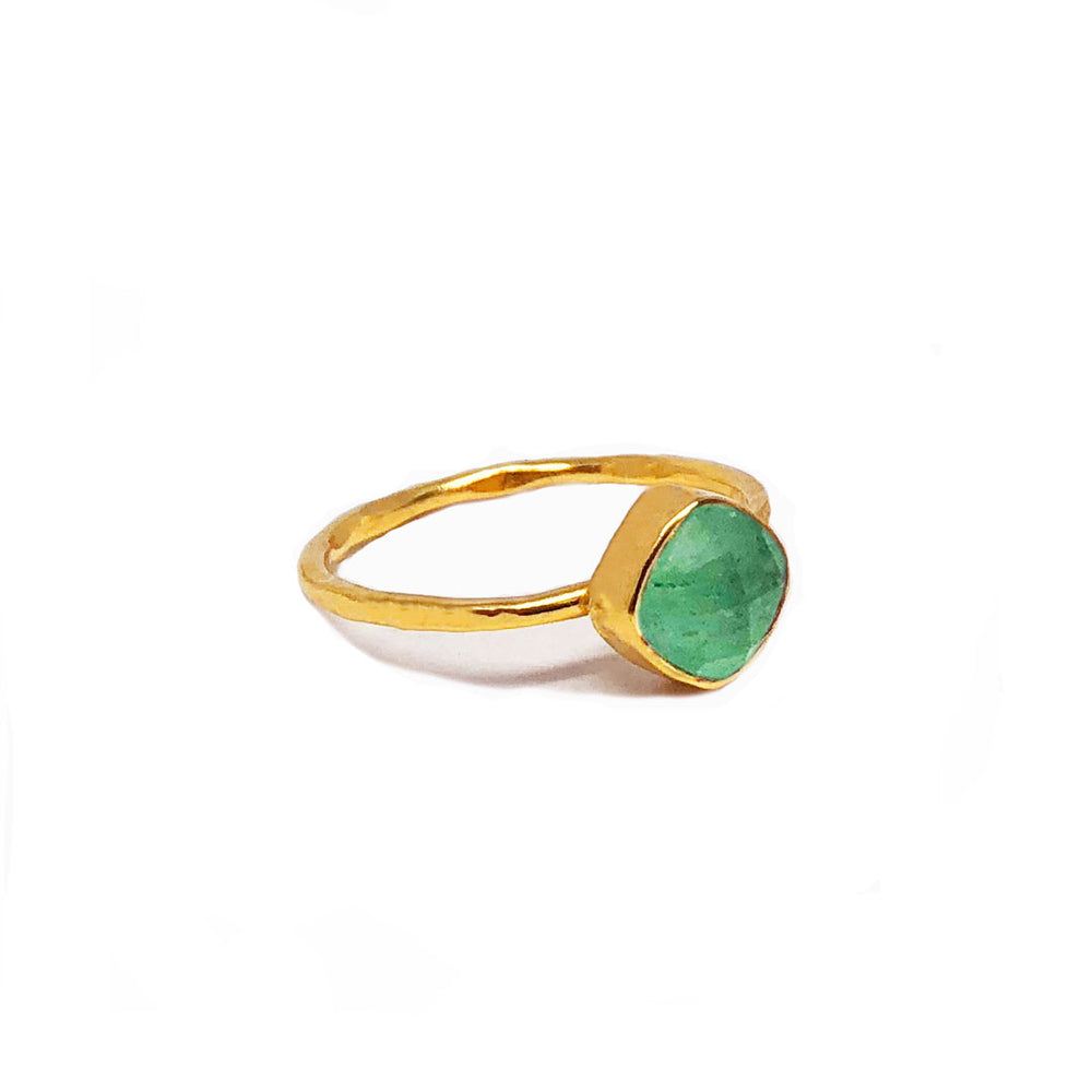 gold plated sterling silver ring with 6 mm jade stone
