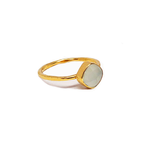 6 mm cushion cut white moonstone ring