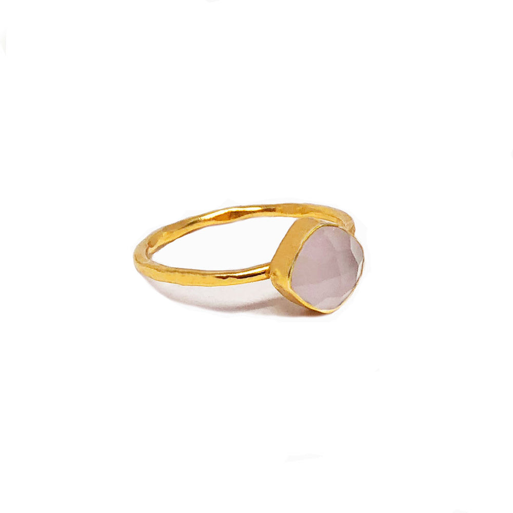 gold plated sterling silver ring with 6 mm rose quartz stone
