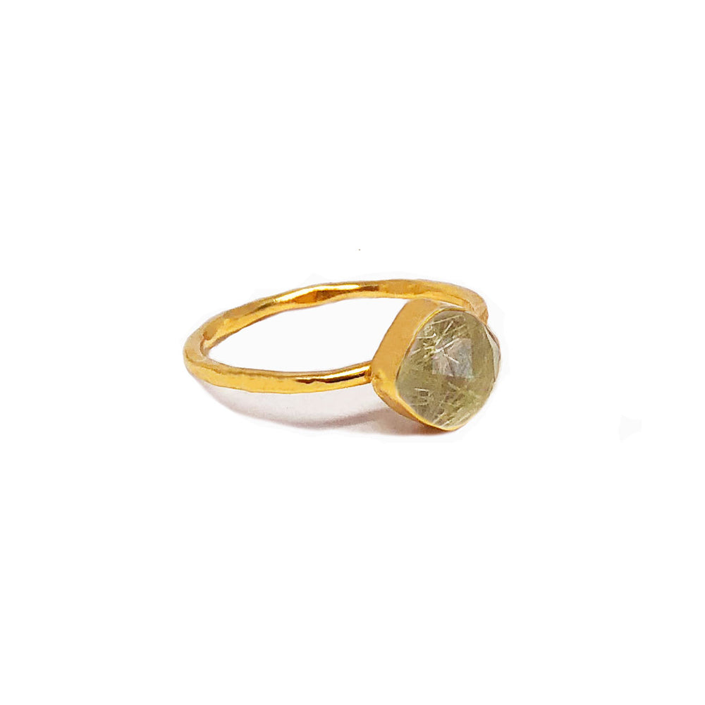 gold plated sterling silver ring with 6 mm rutile quartz