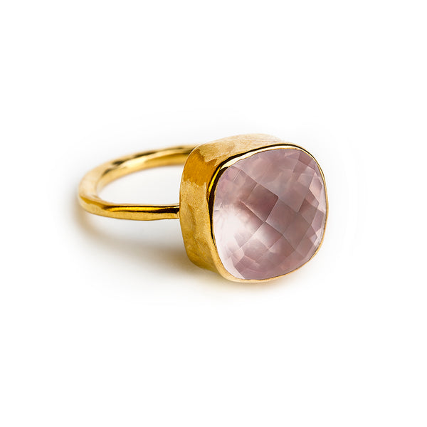 gold plated sterling silver ring with 12 mm rose quartz stone