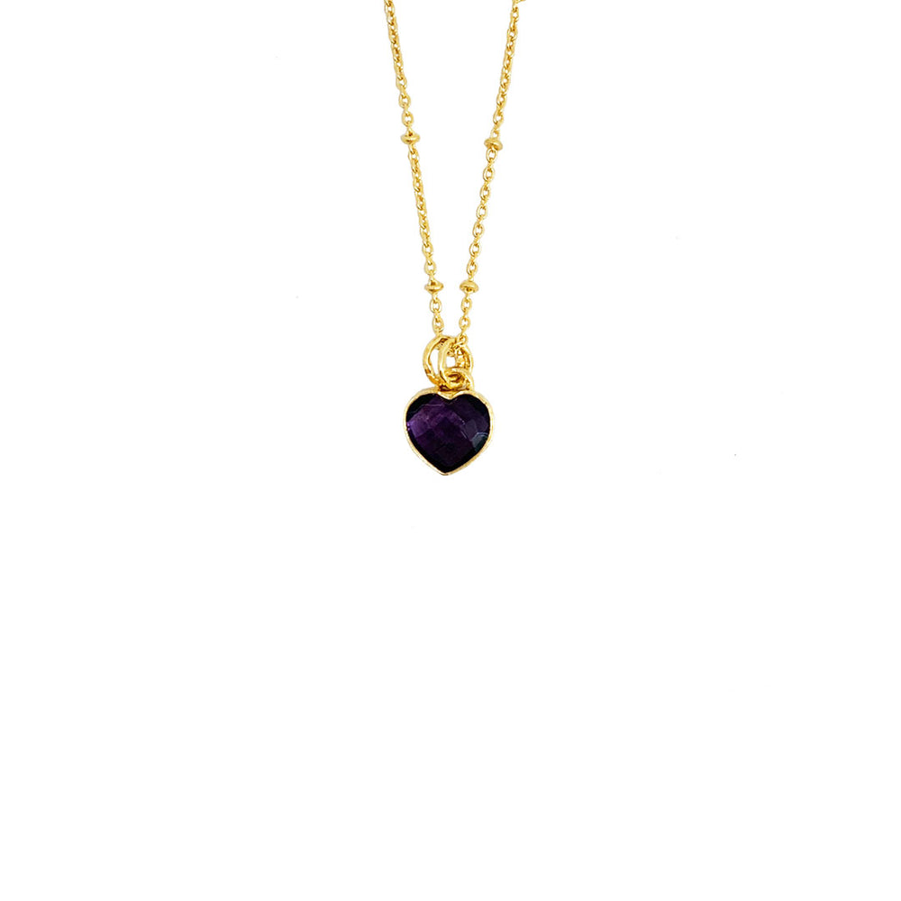 AMETHYST HEART GOLD-PLATED PENDANT