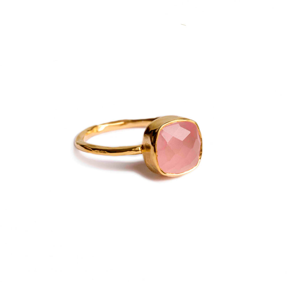gold plated sterling silver with 8 mm rose quartz stone