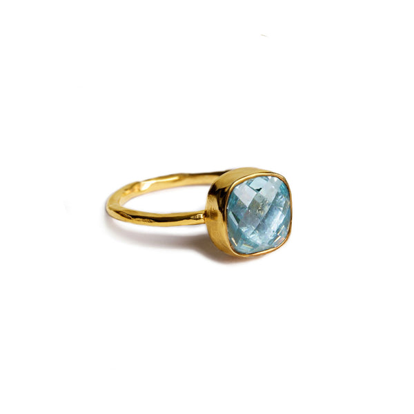 8 mm square cushion cut blue topaz ring