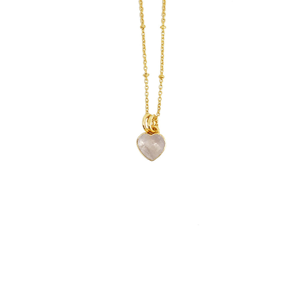 ROSE QUARTZ HEART GOLD-PLATED PENDANT