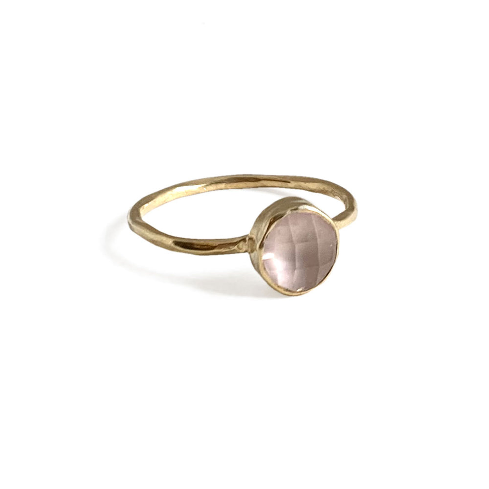6 MM GOLD-PLATED ROUND ROSE QUARTZ RING