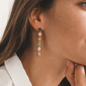 CARRÉ 6 MULTI COLOR GOLD-PLATED EARRINGS